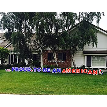 outdoor yard sign announcement individual letters measure 18 inches in height and come with easy to install stakes perfect for showing your national pride