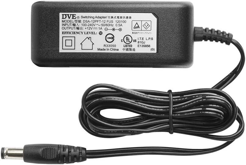 Blk R-Tech DC12V 1A UL-Listed Switching Power Supply Adapter for CCTV 5 Pack