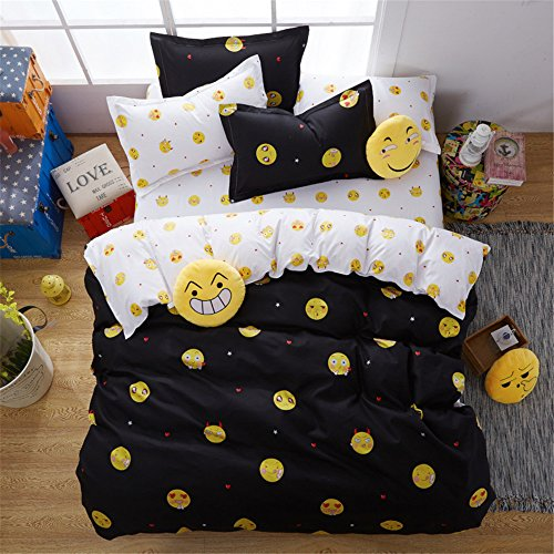 YEVEM 3 Piece Twin Duvet Cover Set Emoji Print White Black Soft Cotton Reversible Kids Bedding Collections Comforter Cover with 2 Pillow Shams, Style 6 - Comforter Cover 6 Piece Bedding