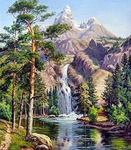 Queenlink Full Pasted DIY Square Diamond Embroidery Paintings Rhinestone Cross Stitch Waterfall