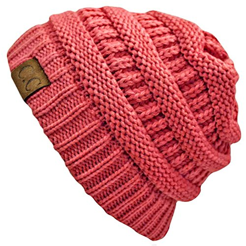 Sox Market Warm Cable Knit Slouchy Trendy Chunky Soft Stretch Skully Beanie Hat (Candy Pink) (Red Ladies Candy Cap)
