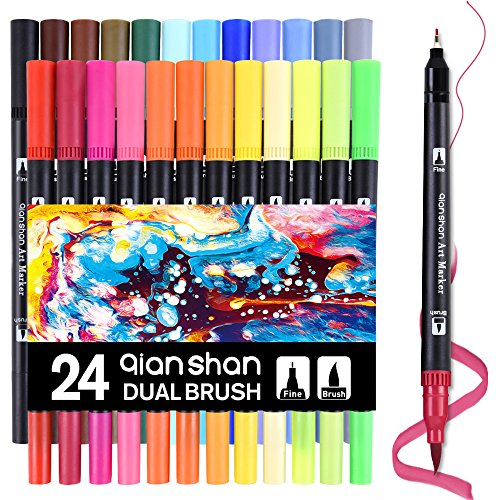 24 Colors Dual Tip Brush Pens Set, Watercolor Brush Markers with Fineliner Tip 0.4mm Professional Coloring Art Marker for Sketching, Painting, Drawing Design qianshan by qianshan