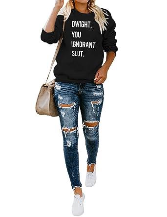ZJP Women Crew Neck Dwight,You Ignorant Slut.Letter Print Sweatshirts Top Blouse