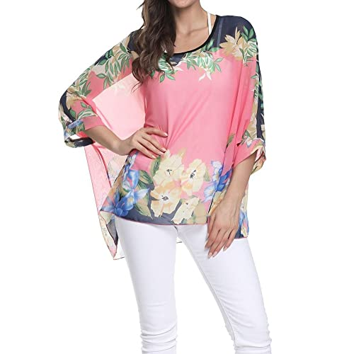 OUKIN Womens Floral Loose Batwing Sleeve Bohemian Sheer Chiffon Oversize Off Shoulder Blouse Tunic Tops