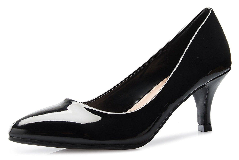 ShoBeautiful Women's Low Heel Stiletto Pump Slip On Sexy Office Business Kitten Heel Fashion Dress Shoes ML05 Black 8