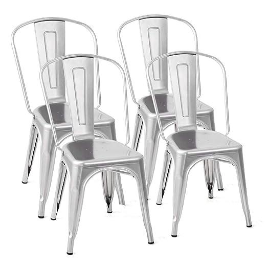 Amazon.com: Costway Tolix - Juego de 4 sillas de comedor de ...