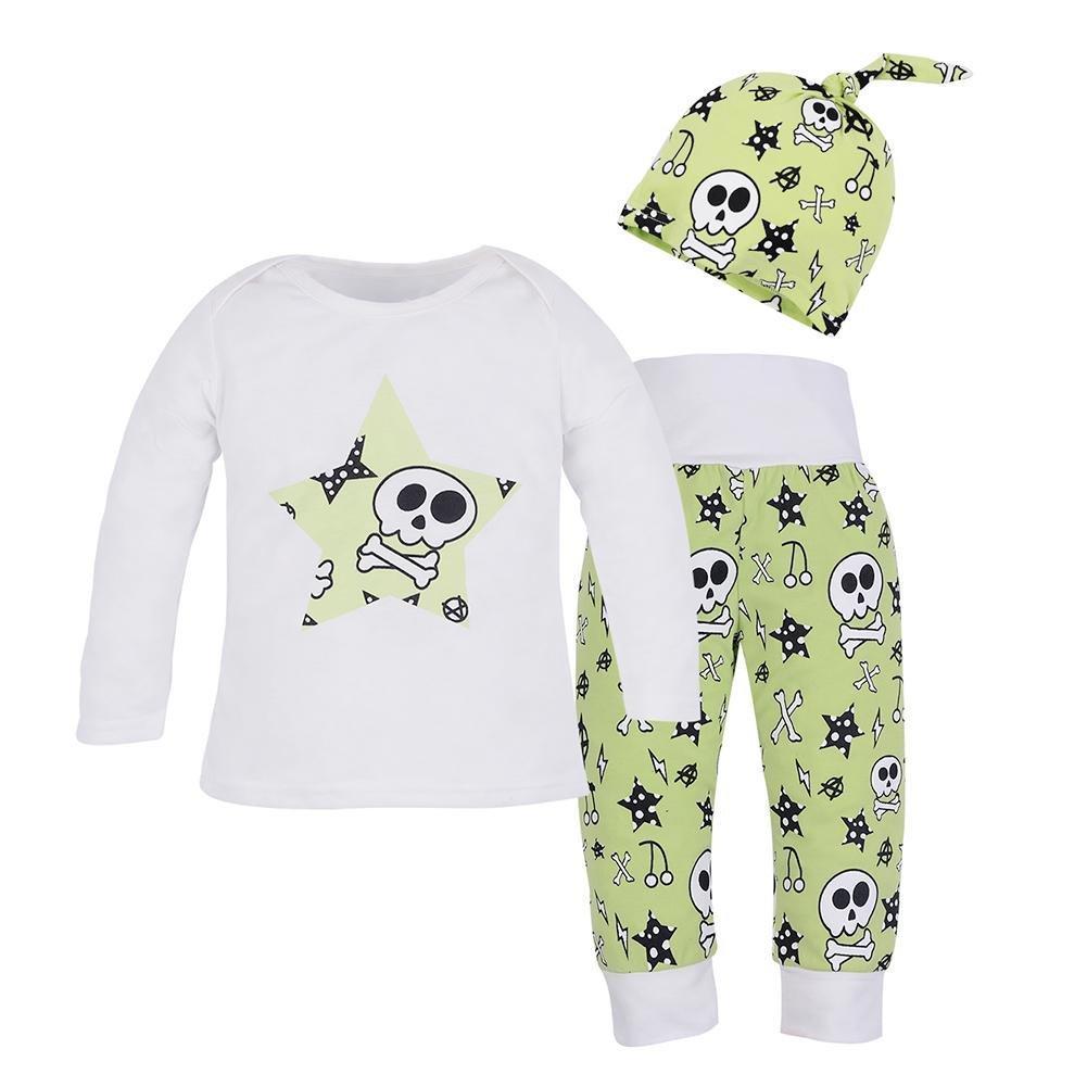 M/ütze Set Lange Hose 3?Infant Skull Print Kleidung Lange ?rmel T-Shirt 80