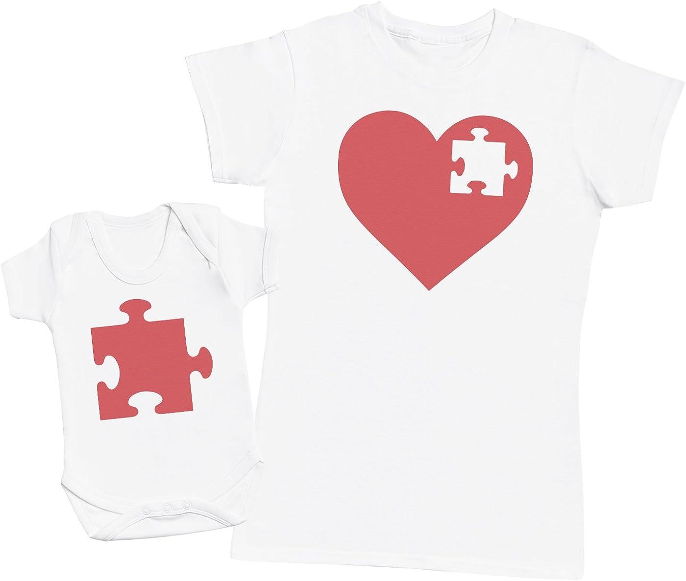 Zarlivia Clothing Heart and Puzzle Piece - Regalo para Madres y bebés en un Body para bebés y una Camiseta de Mujer a Juego