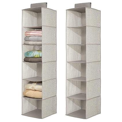 mDesign – Organizador de armarios con 6 estantes – Organizador de tela para colgar – Perfecto para el pasillo – Colgador de armario para ropa y otros ...
