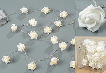 20 Stk Led Lichterkette Rosen Foam Weiss Valentinstag Hochzeit