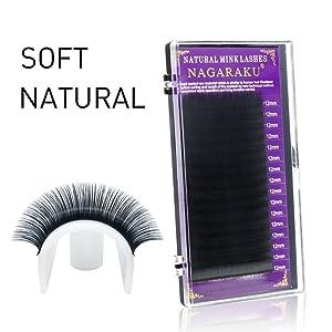 NAGARAKU Mink Synethetic Eyelash Extension False eyelash individual Single Size in one Tray (0.15 D 12mm) (Color: 0.15 D, Tamaño: 12mm)