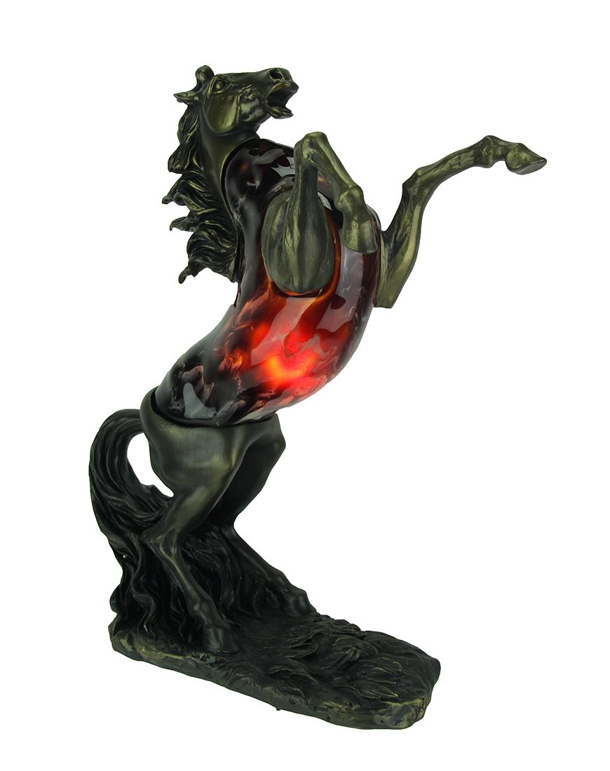Resin And Glass Indoor Figurine Lamps Reared Up Jumping Horse Marbled Glass Art Accent Lamp 13 X 15.5 X 4.75 Inches Bronze