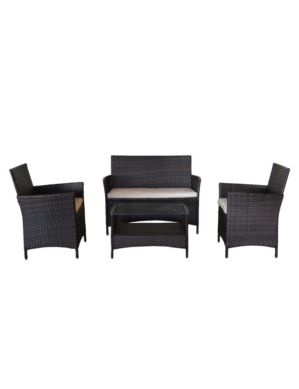 Glamour Conjunto para jardín 1 sofá Doble, 2 sillones y 1 ...