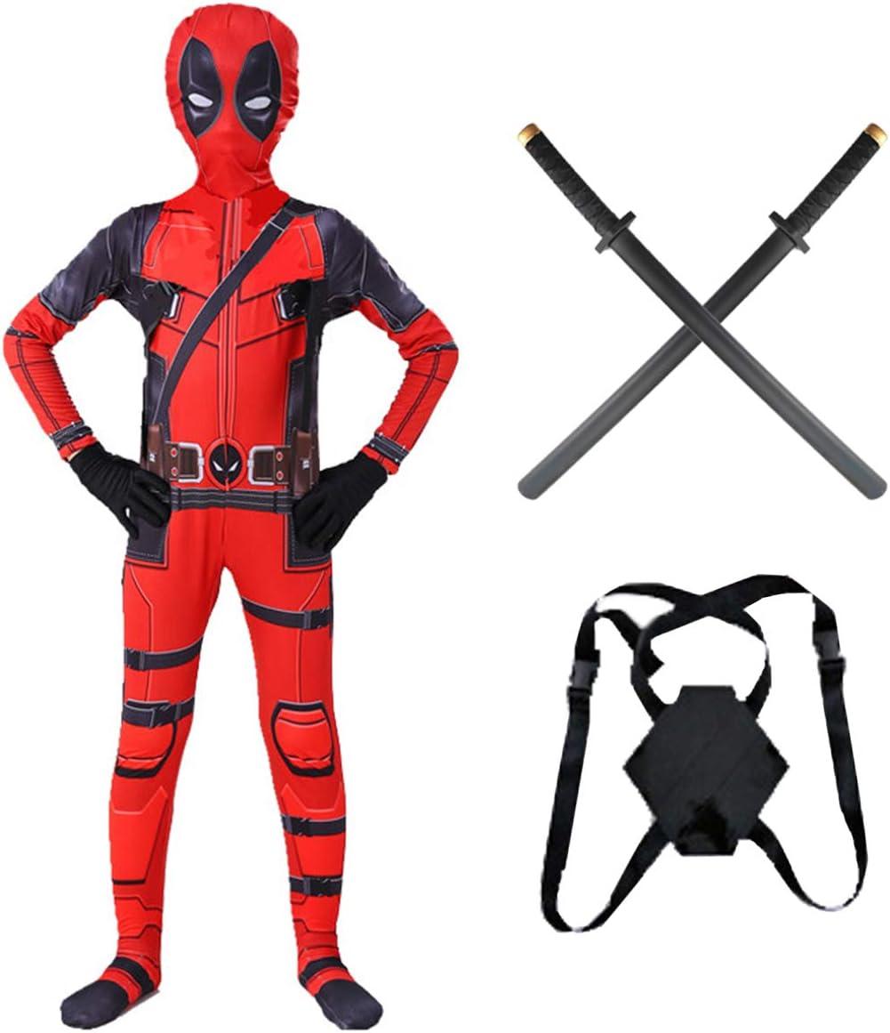 Adultos Niños Deadpool Cosplay Body Set 2pcs con PU Espada Y Mochila, Trajes De Lycra Super Héroe del Mono, Avengers Movie Fans Bodies para Halloween,Kids/XL(130~139CM)