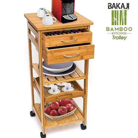 Bakaji Carrito Cocina Multiusos de madera de bambu 3 estantes con Piano Bandeja extraíble 2 cajones ...