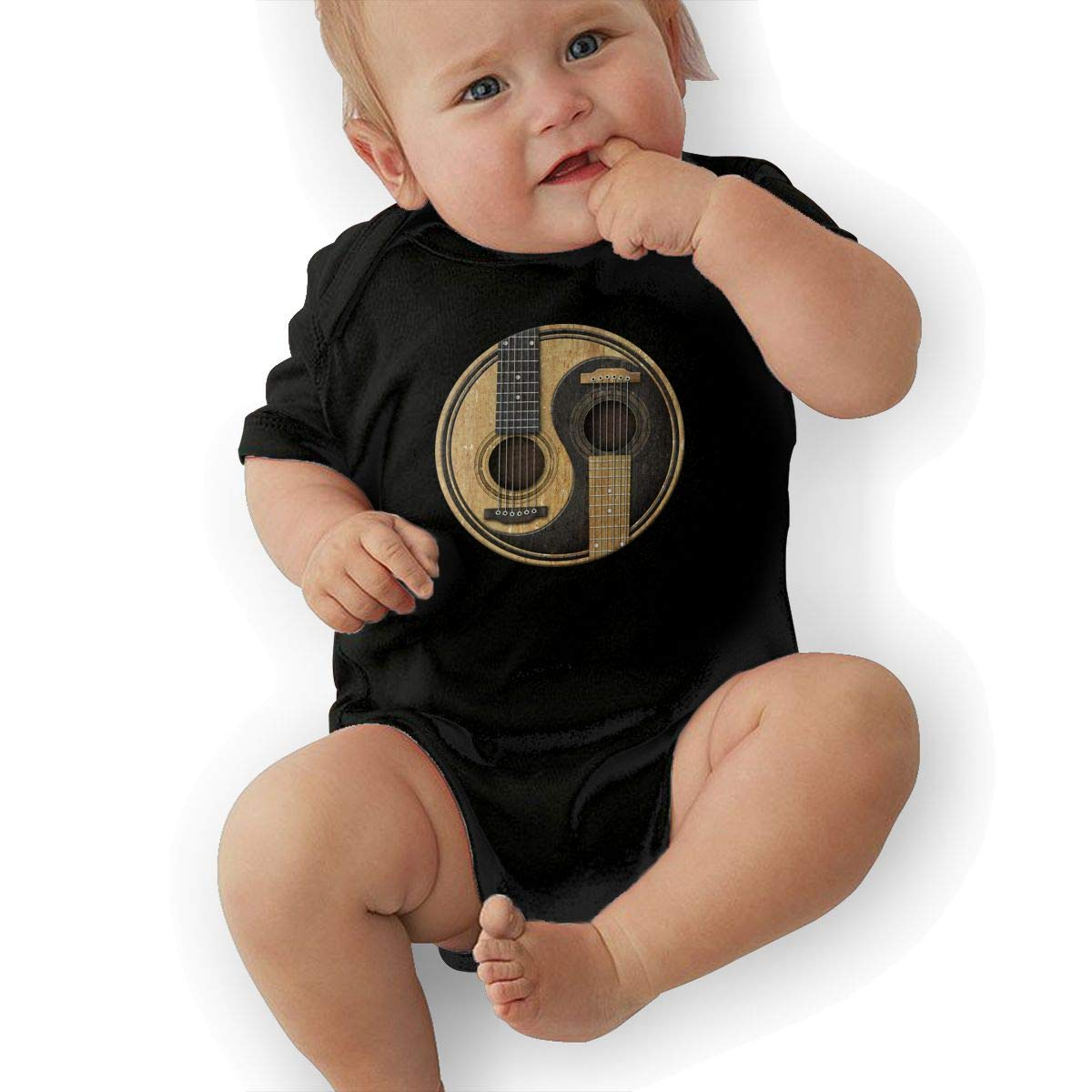 Old and Worn Acoustic Guitars Yin Yang Newborn Baby Girl Boy Romper Jumpsuit Outfit Short Sleeve Bodysuit Tops Clothes