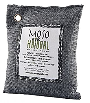 Moso Natural Air Purifying Bag. Odor Eliminator for Cars, Closets, Bathrooms and Pet Areas. Charcoal Color, 200-G