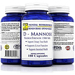 Mental Refreshment: D-Mannose - 1500mg serving, 180 Capsules #1 Best for Urinary Tract Health (1 Bottle)