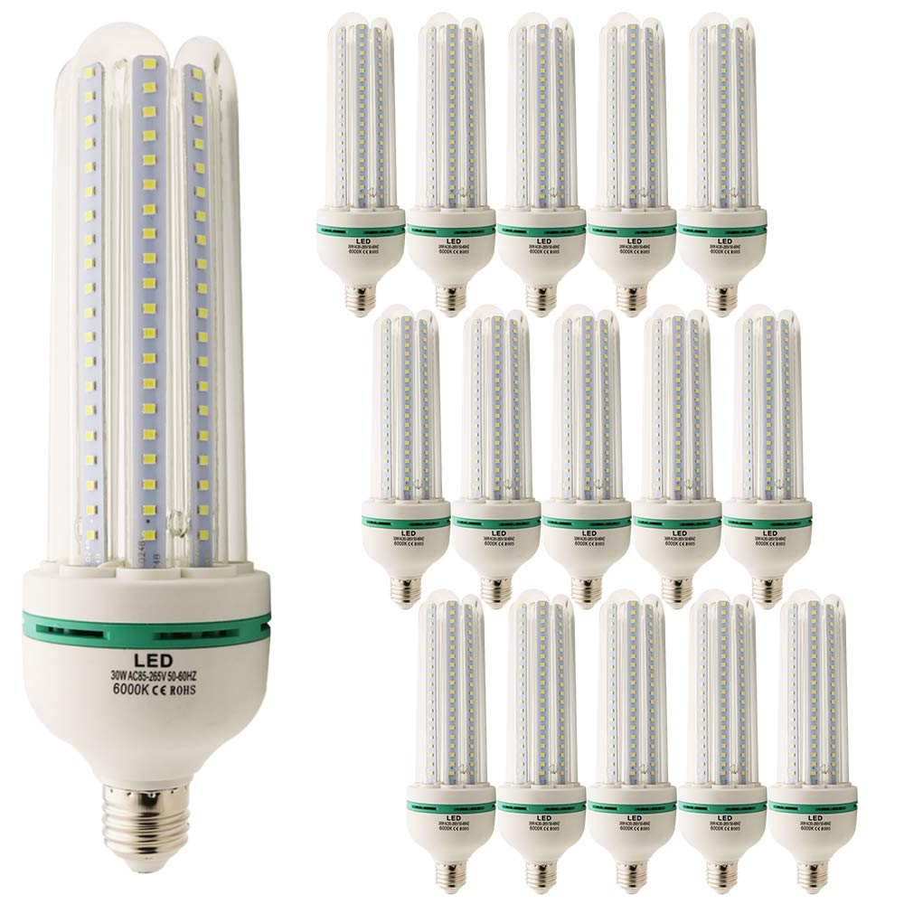 15 Pack E27 LED Bulbs 30 Watt Lamps Equivalent to 250W, White Light 6000K 2500 Lumens LED Bulbs, Non-Dimmable Beam Angle 360 Degree