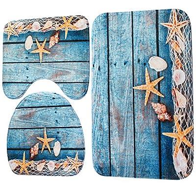 WinnerEco Non-slip Mats,3pcs Ocean Underwater World Anti Slip Toilet Pattern Carpet Bathroom Mat Carpet Rug Carpet Mat (Starfish)