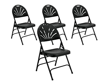 Excellent Pack Of 4 Folding Chairs High Back Padded Seat Built To Withstand Up To 400 Pounds Flat Fold Folding Chairs Non Marring Leg Tips Fold Chair Made Inzonedesignstudio Interior Chair Design Inzonedesignstudiocom
