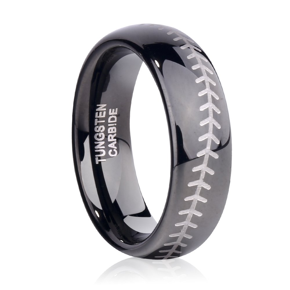 TUSEN JEWELRY Sports-Symbology Baseball Engraved 6mm Black Domed Tungsten Ring