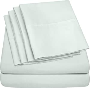 Sweet Home Collection 7 Piece 1500 Thread Count Brushed Microfiber Deep Pocket Sheet Set - 2 Extra Pillow Cases, Value, Split King, Mint