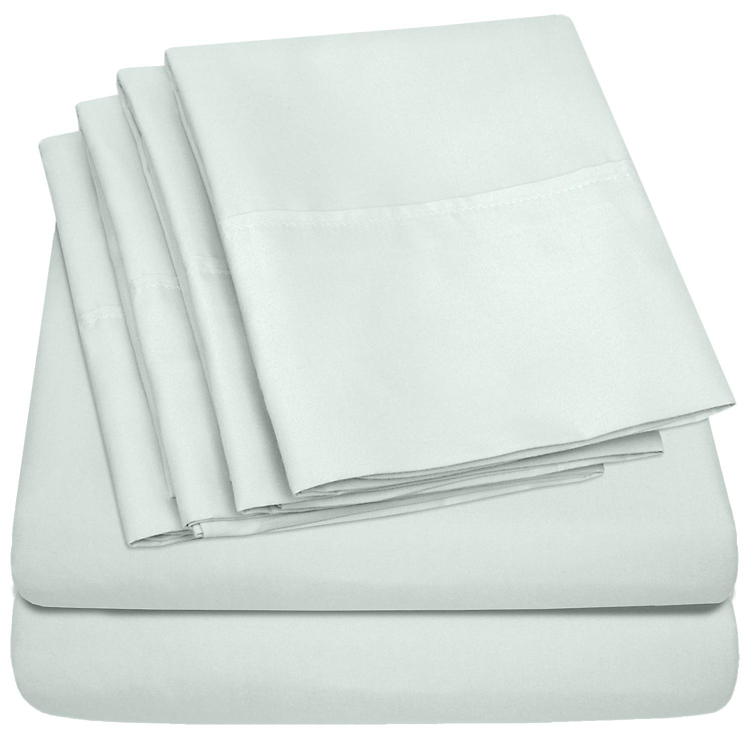 King Size Bed Sheets - 6 Piece 1500 Thread Count Fine Brushed Microfiber Deep Pocket King Sheet Set Bedding - 2 Extra Pillow Cases, Great Value, King, Mint