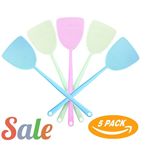 2 Pack Ram-Pro 16 Long Assorted Color Durable Fly Swatter with Wire Handle