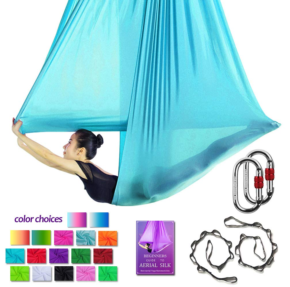 Aerial Yoga Hammock L:5M W:2.8M Aerial Pilates Silk Yoga Swing Set with 2000 Ibs Load Include Carabiner,Daisy Chain, Pose Guide (Sky Blue)