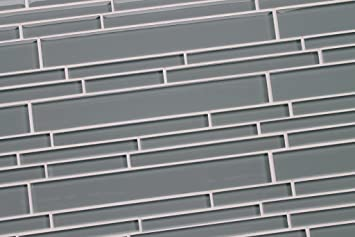 4 X6 Sample Of Chimney Smoke Mid Gray Linear Glass Mosaic Tiles For Kitchen Backsplash Tub Surround From Rocky Point Tile Grey Glass Tile Amazon Com