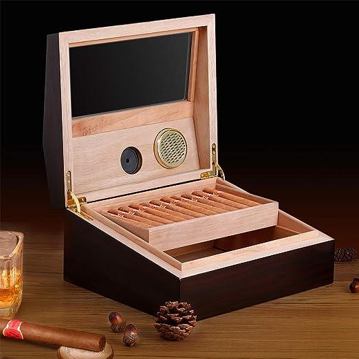 CRITIRON Humidor de Puros, Caja Humidificadora de Cigarros, con Higrómetro y Humidificador, Capacidad para 50-60 Cigarros, con Tapa de Vidrio Templado, Gaveta con 2 Capas: Amazon.es: Hogar