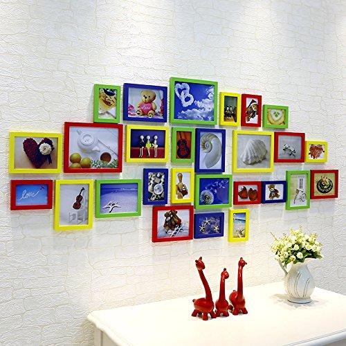 ZZZSYZXL Wohnzimmer dekoriert Massivholz Fotowand 27 Stücke ein Satz von Composite-Fotorahmen Wand , color