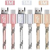 Luvfun [3-Unidades Cable Tipo C, 1m Nylon Cable USB Tipo C (Oro Rosa+Plata+Oro)