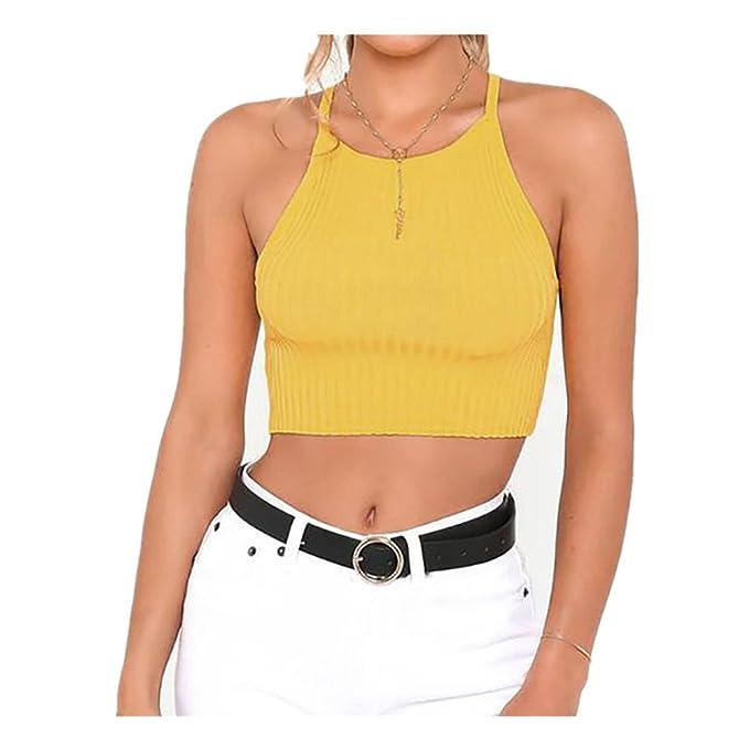 SUCES Frauen Halfter Straps ärmellose Solid Bluse Crop Tops Kleidung  T-Shirt Tanktops Damen Chiffon