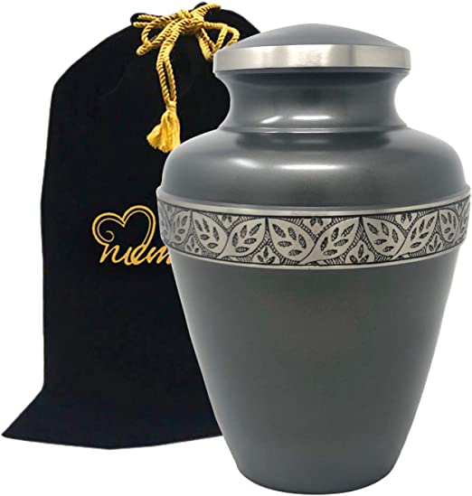 """Funeral Memorial Adult Sized 10/"""" Blue /& Pewter Urn Large Cremation Ashes Urn"""