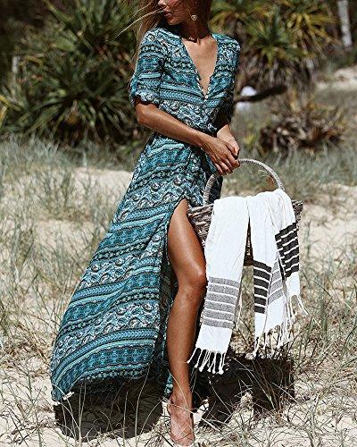 Mujer Vestido Vestido con Manga Bohemia Maxi en largo de floral para Vestido larga 5 playa cuello v Vintage Stripes rrxpqd1