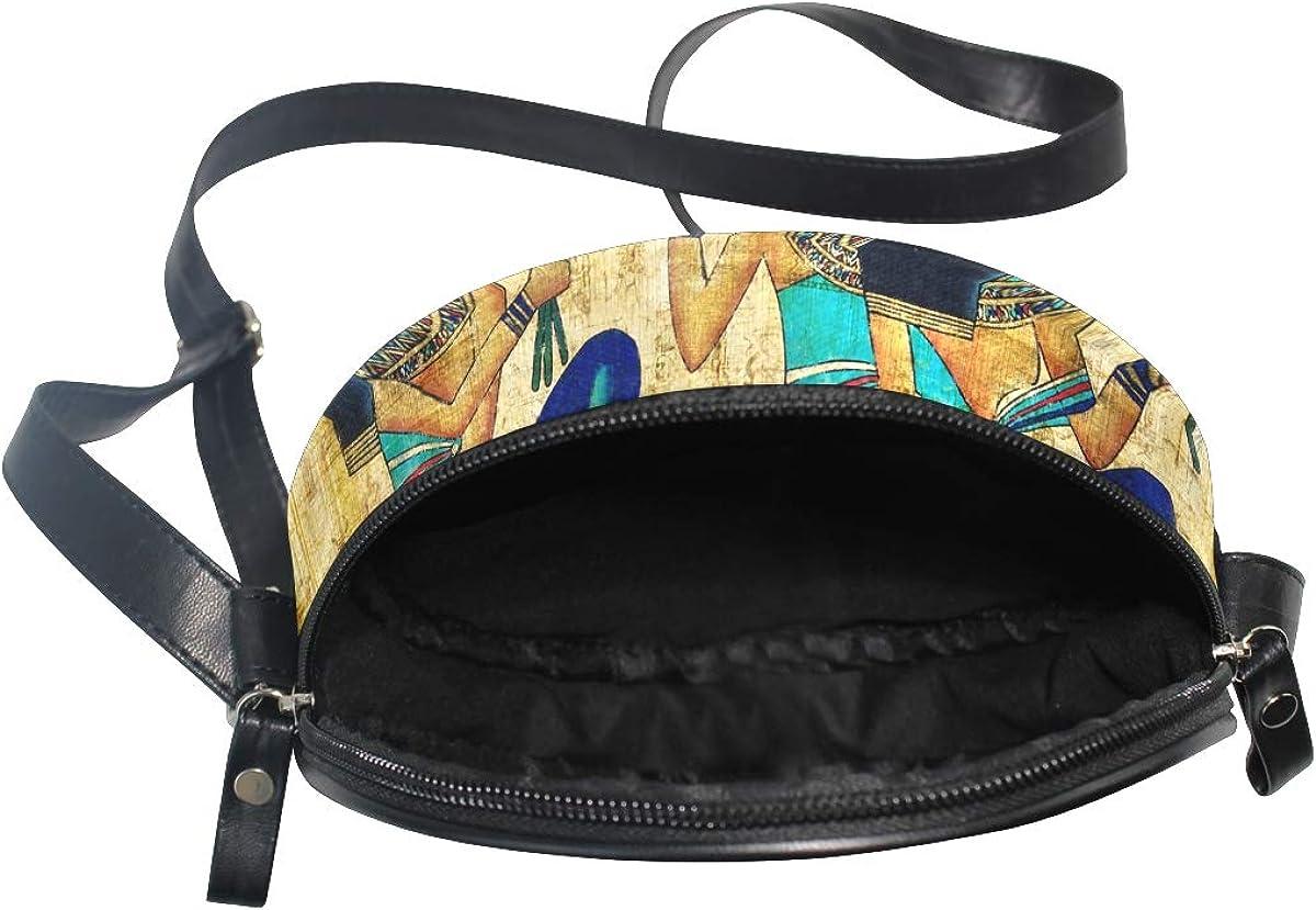KEAKIA Ancient Egyptian Parchment Round Crossbody Bag Shoulder Sling Bag Handbag Purse Satchel Shoulder Bag for Kids Women