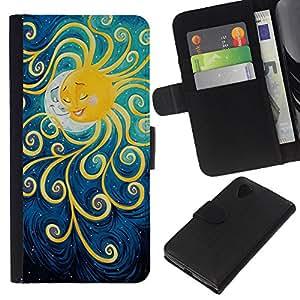 KLONGSHOP // Tirón de la caja Cartera de cuero con ranuras para tarjetas - Pintura Luna Kids sueño de la noche - LG Nexus 5 D820 D821 //