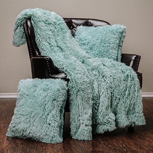 "Chanasya 3-Piece Super Soft Shaggy Throw Blanket Pillow Cover Set - Chic Fuzzy Faux Fur Elegant Fleece Sherpa Throw (50""x65"") & Two Throw Pillow Covers (18""x 18"")- For Bed Couch Chair Sofa - Turquoise"