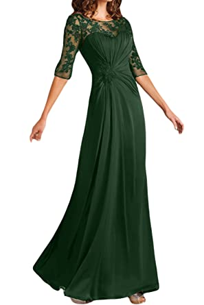 DressyMe Womens Wedding Dress Prom Gown Back Cutout Sleeves-6-Dark Green