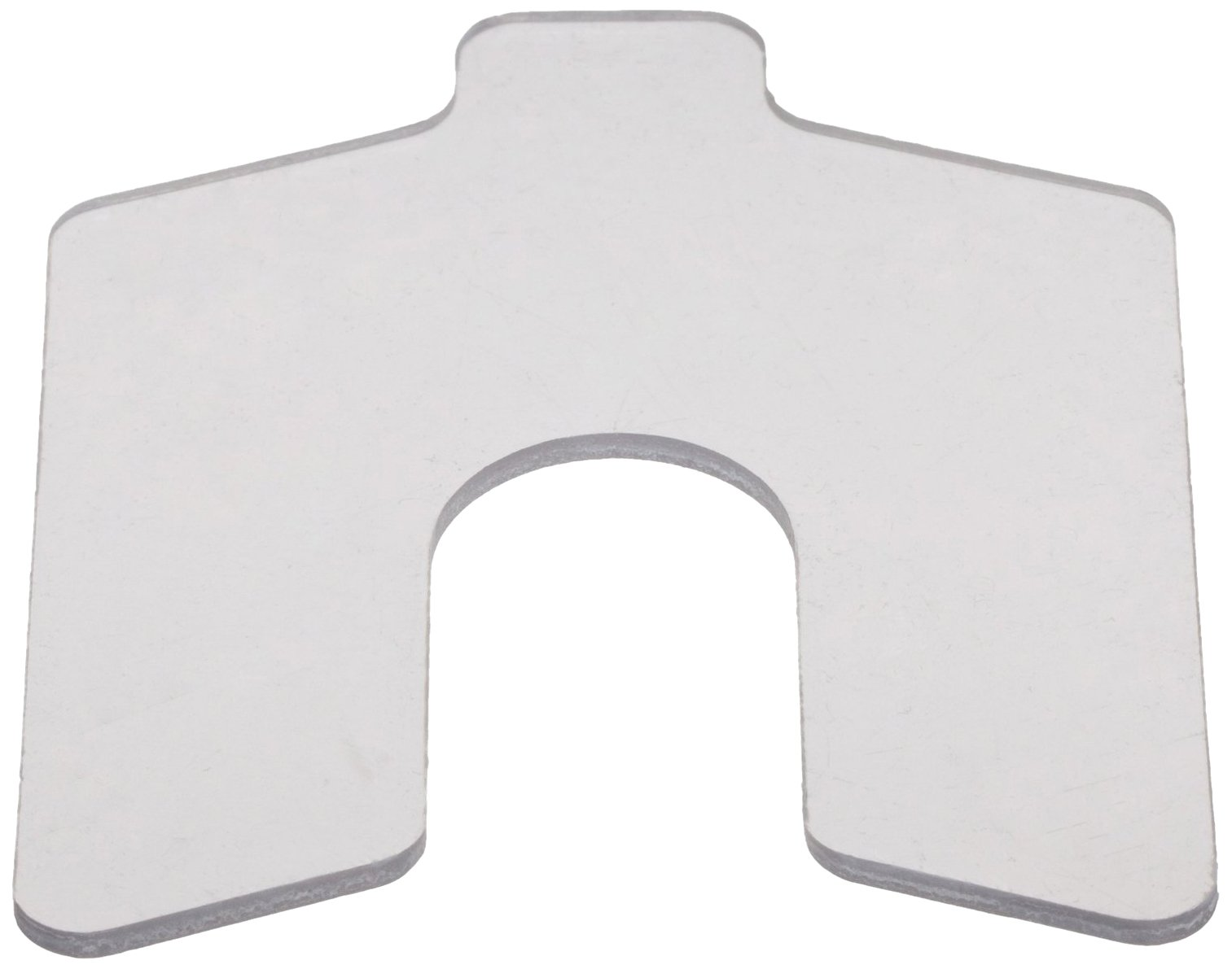 PVC (Polyvinyl Chloride) Slotted Shim,  Clear, 0.050'' Thickness, 1'' Width, 1'' Length, 0.3125'' Slot Width (Pack of 20) by Small Parts