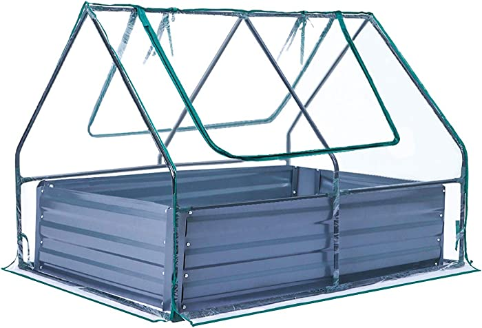 """TOOCA Raised Garden Bed 47"""" ×35"""" ×36"""" Planter Box with Greenhouse Planter Garden Bed Kit 85.6 Gal Portable Sturdy Greenhouse for Plants/Veggies/Fruits/Herbs Outdoors with 2 Zipper Windows for Gardener"""