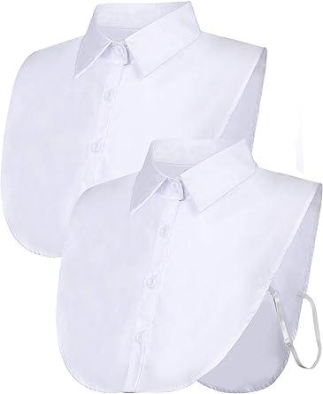 2 Piezas Cuello Falso Cuello de Dickey de Blusa Desmontable Cuello Falso de Camiseta de Mitad para Favores de Mujeres (Blanco, Talla 2): Amazon.es: Ropa y accesorios