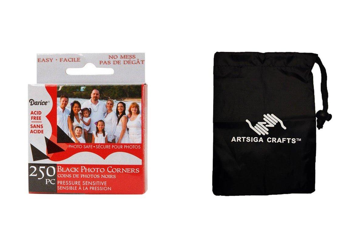 Darice Papercraft Photo Corner Mount Black 250 Pieces (12 Pack) LK 01BHBlack Bundle with 1 Artsiga Crafts Small Bag