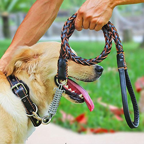 COMSUN Leather Dog Leash Braided Pet Training Leather Lead Belt 4.3ft Long 0.8 Inch Wide for Medium Large Dogs Up To 220lbs With Buffer Spring - Diameter 220 Grain