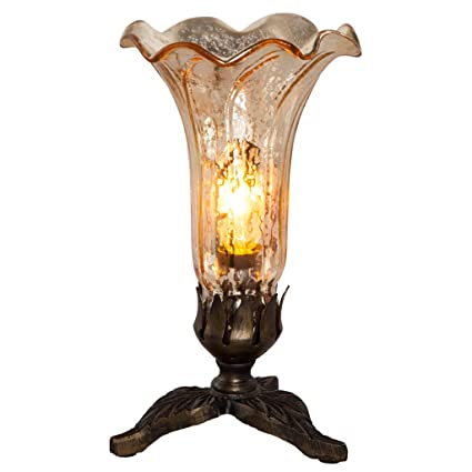 8 25 H Hand Blown Mercury Glass Lily Lamp W Leaf Base Gold