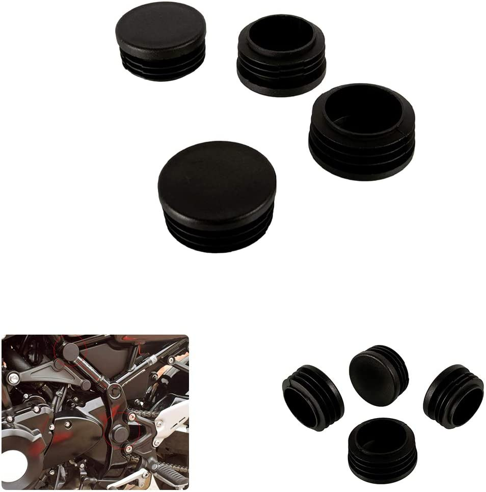 Kit of Frame End Caps Motorcycle Crash Bar Plugs Plastic Covers for Kawasaki Z900RS 2018-2019 Black