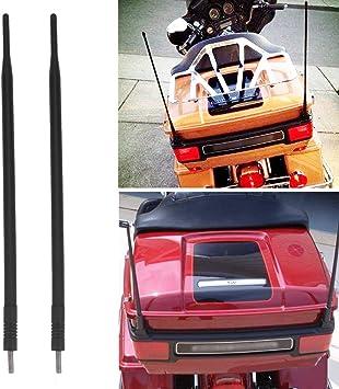 Paquete de 2 m/ástiles de antena de metal corto AM//FM//XM CB para Harley Davidson de 4 pulgadas