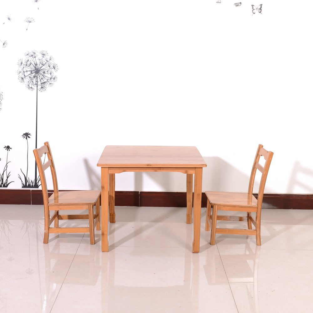 Azadx Bamboo Table and 2 Chairs Set - Kid's Furniture for Playing Reading Drawing Writing Eating Wood Color by Azadx (Image #2)